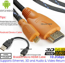 6FT Braided HDMI to Micro HDMI Cable for Smartphone Tablet Samsung LG Kindle