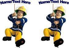 2 X PERSONALISED FIREMAN SAM IRON ON T SHIRT TRANSFERS WHITE/LIGHT FABRICS