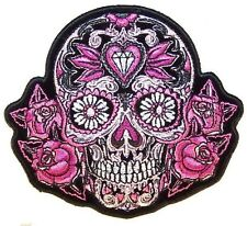 PINK SUGAR SKULL and ROSES EMBROIDERED BIKER PATCH   iron on