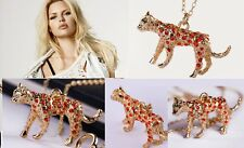 N330 Betsey Johnson Lion King Cub Simba Leopard Cat Kitty w/ Crystal Necklace US