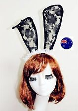 Women Girl Black Long ear Kitty Cat bunny Ears Hair Headband Hoop Costume PROP