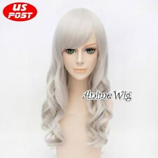 70CM Long Curly Silver White Hair Women Party Cosplay Wig Heat Resistant+Wig Cap
