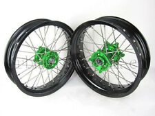 "KAWASAKI KX/KXF 125-450 FRONT/REAR 17""/17"" SUPERMOTO WHEEL WHEELS SET 9 RMK03"