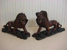 PAIR VINTAGE CHINESE HAND CARVED LION FIGURINES W/NICE WOODEN FOOT STAND BASE