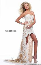21016 Sherri Hill Hi Lo Ivory/Nude Lace Evening Prom Gown Dress Size USA 4