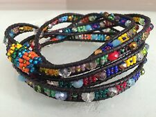 Czech GLASS Bead MUTLI-COLOR Wrap Bracelet Cuff Bangle Shamballa Guatemala