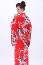 Vintage Japanese Kimono Costume Geisha Dress Obi Gown Royalblue Robe HOT