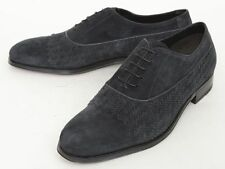 Mens BRIONI Steel Gray Basket Weave Suede Oxford Shoes 9 1/2 D NIB