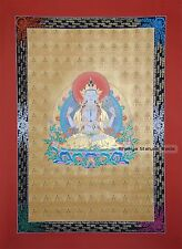 "44"" x 31.75"" 108 Chenrezig/Avalokiteshvara Scroll Thangka/Thanka Painting Nepal"