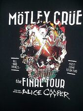 MOTLEY CRUE 2014 MEN The Final Tour Alice Cooper T Shirt size Large FREE SHIPPIN