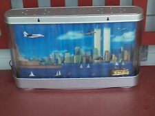 Vtg New YorK City Skyline MOTION Lamp w/Twin Towers,Statue of Liberty 19 1/2x13""