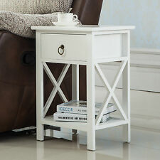 White Sofa End Side Bedside Table Nightstand Storage Wood Bedroom w/Drawer Shelf