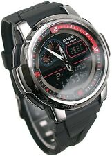 AQF-102W-1B Black Casio Digital-Analog Men's Watches Resin Band Thermometer New