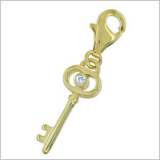 18kt Gold Over Sterling Silver Gold Key Clip On Charm #94179