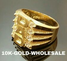MENS 10K YELLOW SOLID GOLD DAD HIP HOP STYLE RING