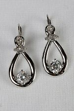 New Avon Silver ETERNAL PROMISE Faux Diamond Earrings - Teardrop Hoop Solitaire