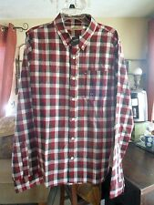 NWT ..HOLLISTER .. Men's Plaid Shirt .. Size XL    Red / Dark Brown