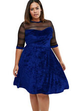 New Gorgeous Blue Velvet Mesh Insert Plus Size Swing Dress 16 18 20 22 24 UK