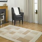 SMALL MEDIUM LARGE X LARGE THICK CREAM BEIGE LIGHT COFFEE BROWN BLOCK DESIGN RUG