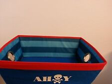 2 piece Nautical Theme Storage Bins Fabric Red and Blue Containers