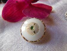 original bouton ancien en verre vintage motif blanc vert doré  1,7 cm