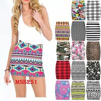 LADIES BODYCON SHORT STRETCHY PRINTED MINI JERSEY WOMEN'S PENCIL SKIRT SIZE 8-22