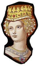 female face stained glass fragment, kilnfired, queen suncatcher, classic glass