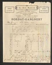 """ABBEVILLE (80) PORCELAINE FAIENCE """"AU BON MARCHE / BORDAT & GANGNERY"""" en 1883"""