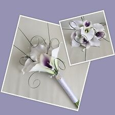 ARTIFICIAL WHITE PURPLE FOAM CALLA LILY WEDDING FLOWERS BRIDESMAID BOUQUET POSIE