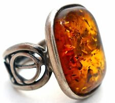 Vintage Natural Baltic Amber Ring Sterling Silver Size 6 Vintage Jewelry 925