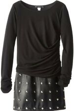 """KATE MACK Girls Black Party Holiday Dress With """"leather"""" Studded Skirt Sz 8 Bnwt"""