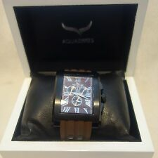AQUASWISS Men's WATCH Chronograph brown bend black Case  NEW $1600