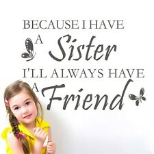 SISTER Wall Quotes Best friends nursery Decal Girls Bedroom Transfer Vinyl Art
