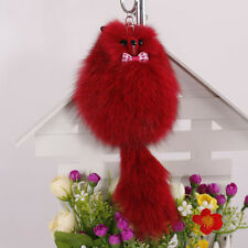 1Pc Red Fluffy Pompom Fox Fur Cellphone Key Chain Handbag Car Pendant Key Ring