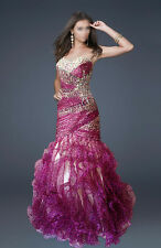 PINK LEOPARD MERMAID! BEADED FORMAL/EVENING/PROM/BALL/BRIDESMAID GOWN; AU12/US10