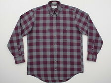 Vtg Mens Burberrys London L/S Cotton Pocketed Check Plaid XL NU COND Made in USA