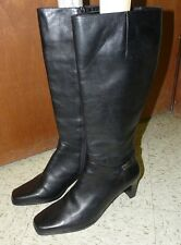 Sudini Womens Tall Knee High Fashion Boots Size 11-WID Soft Black Leather Riding