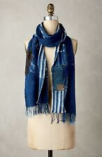 NWT Anthropologie Scarf Denim Blue Handmade One Of A Kind Patched Fringe $188