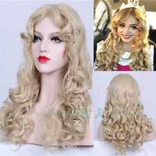 Sleeping Beauty Princess Aurora Anime Long Wavy Golden Blonde Cosplay Hair Wig