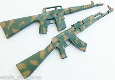 2X Toy Machine Guns Military M-16 Dart Rifle AK-47 Dart Gun Toy Set SAFE