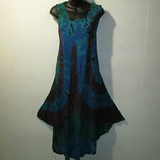 Dress Fits 1X 2X 3X 4X Plus Long Sundress Tunic Blue Red A Shaped NWT 009 D