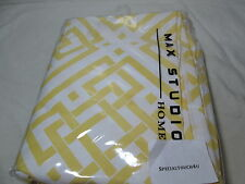 New Max Studio Home PUZZLE GEO Fabric  Shower Curtain 72x72 ~ Yellow & White
