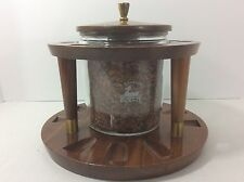VINTAGE DUK IT WALNUT WOOD SMOKING PIPE STAND RACK TOBACCO HUMIDOR HOLDS 9 PIPES
