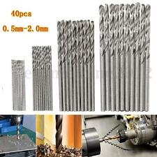 40x Mini HSS Kit Punte Trapano Straight Shank PCB Drill Bit 0.5mm-2.0mm