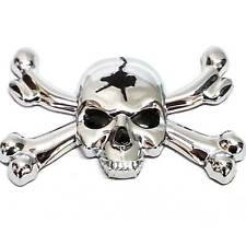 "1 Custom Chrome ""Skull & Bones"" Adhesive 3D Emblem - Hotrod Ratrod Hot Rat Rod"