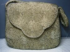 Vintage Platinum Silver BEADED Handbag Evening Bag~Guaranteed Hand Made