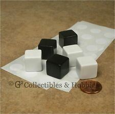 NEW Set of 6 Blank Dice - 16mm Black White RPG Game 5/8 inch D6