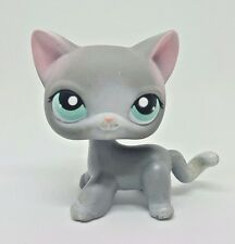 Littlest Pet Shop Grey Gray White Cat Blue Eyes #126 Preowned LPS 6 Pics! Hasbro