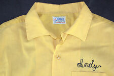 "Vtg 60s 70s Hilton Yellow Bowling Shirt 51"" Elks Lodge Elkhart Andy Pinstripes"