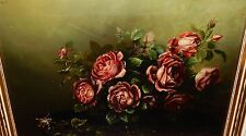 PINK ROSES ON A TABLE ORIGINAL OIL ON CANVAS OLD 19TH CENTURY PAINTING UNSIGNED